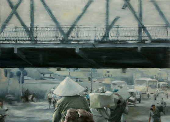In the morning under the bridge (120 x 160 cm, oil on canvas, 2007) – sold