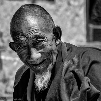 Ladakh- Old monk in the monastery of Likir