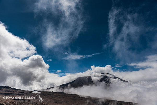 Kibo in the clouds  - seen from Kibo saddle