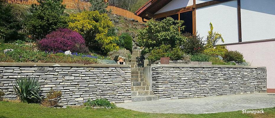 Kunststeinverblender auf Betonziegel verlegt von Stonepack