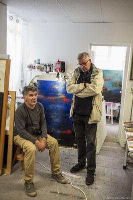 ©JD-L1009840-Jean-Pierre Ménard et Marc Tassel, à l'atelier de Carole Bécam.