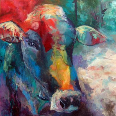 Bunte Kuh, Druck auf AluDibond butlerfinish, © Christa Riemann