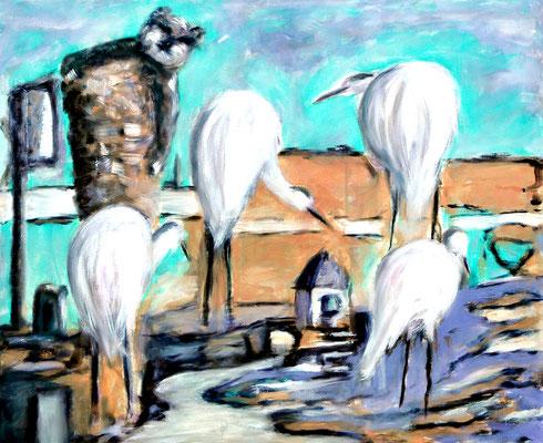 Katze auf Döner (2011) oil on canvas 90 x 110 cm