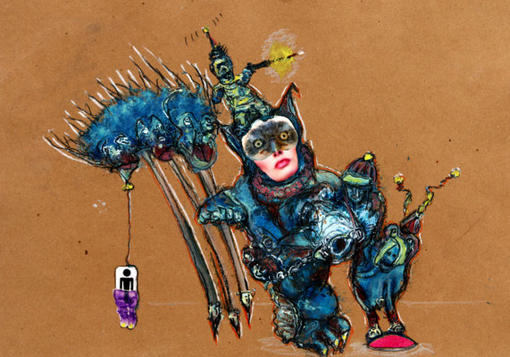 Buster rides again (2020) mixed media on banana paper 30 x 42 cm