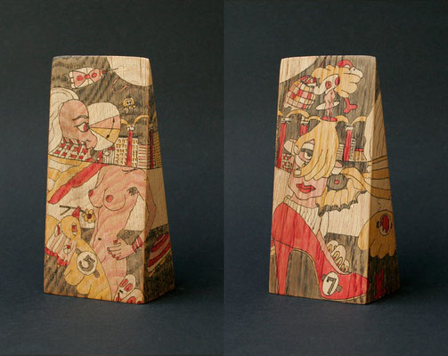 """waiting on a friend"" (2008) marker on oak wood 17 x 8 x 5 cm"