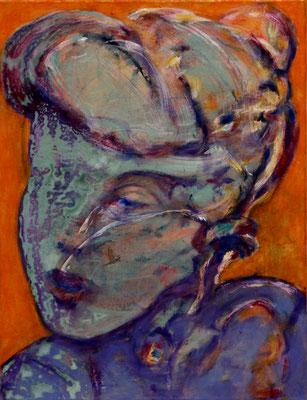 Portrait Study T. (2020) oil, tempera, acrylic on canvas 55 x 42 cm