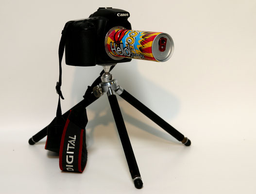Boom (2018) Canon EOS 20D body, energy drink can, tripod 35 x 25 x 25 cm