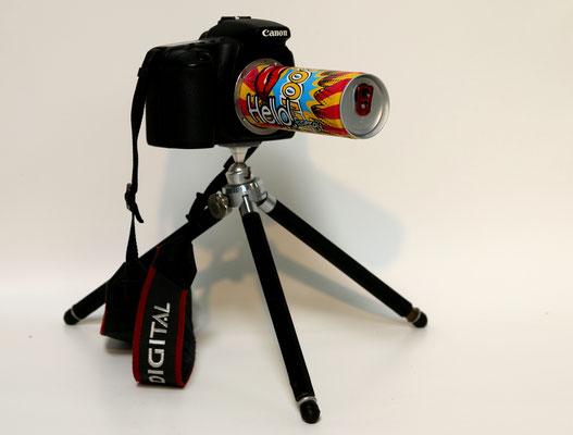 Boom (2018) Canon EOS 20D body, energy drink can, tripod 35 x 25 x 25 cm