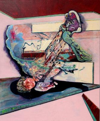 Flying Leap (2018/20) oil, tempera, acrylic on canvas 170 x 140 cm
