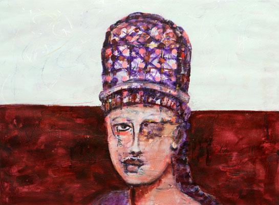Die Mütze macht's (2018) oil, tempera on Canson paper 56 x 76 cm