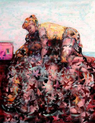 Heap (2018) oil, tempera, acrylic on canvas 180 x 140 cm