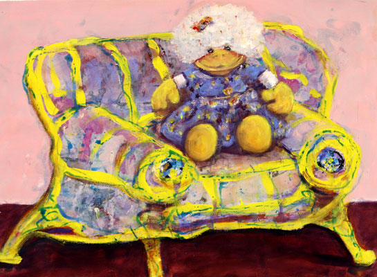 My Sofa (2017) oil, acrylic on Canson paper 56 x 76 cm