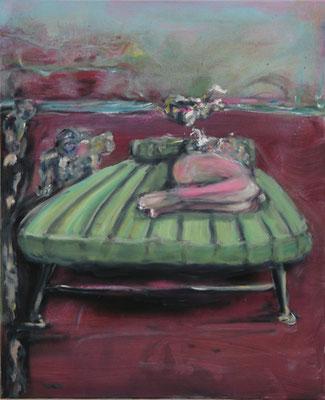 Cat Nap (2013)  oil, acrylic on canvas 80 x 65 cm