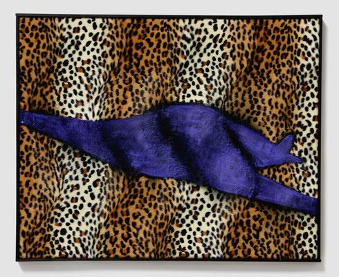 You and JU F13 (2017) tempera on ersatz leopard skin 45 x 56 x 3 cm