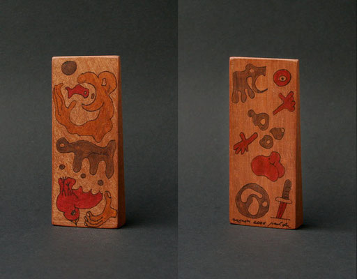 """no title"" (2006) marker on sipo wood 9 x 4 x 2 cm"