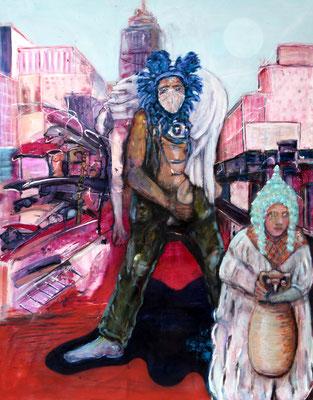 run off (2021)  oil, tempera, acrylic on canvas 180 x 140 cm