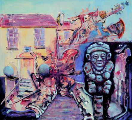 Colima Serenade (2020) oil, tempera, acrylic on canvas 90 x 100 cm