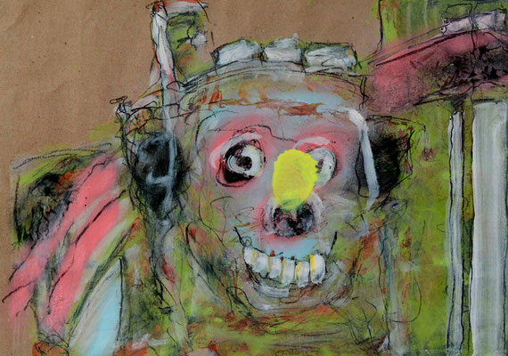 Jackass (2013) oil, pencil on banana paper 30 x 42 cm