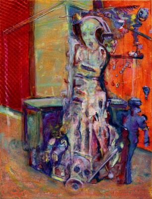 Gate Guard (2020) oil, tempera, acrylic on canvas 55 x 42 cm