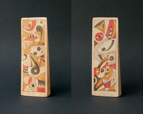 """no title"" (2002) marker on pine wood 17 x 5 x 2 cm"