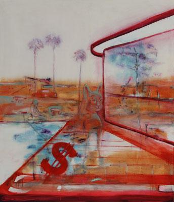 La Cienega Blvd. (2020)  oil, tempera, acrylic on canvas 140 x 120 cm