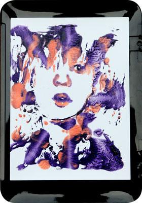 Portrait Study Julia (2018) oil on Samsung  scanner cover 30 x 21 cm
