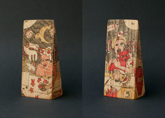 """ambiance ambulance"" (2008) marker on oak wood 17 x 8 x 5 cm"