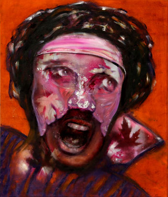 Caroller (2021) oil, tempera, acrylic on canvas 80 x 68 cm
