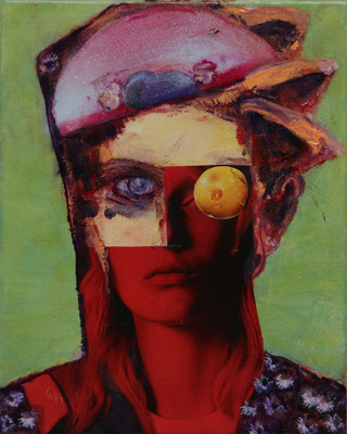 Aradia (2020) oil, collage on canvas 30 x 24 cm