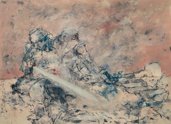 Sucher (2014) tempera, oil, varnish on Canson paper 56 x 76 cm