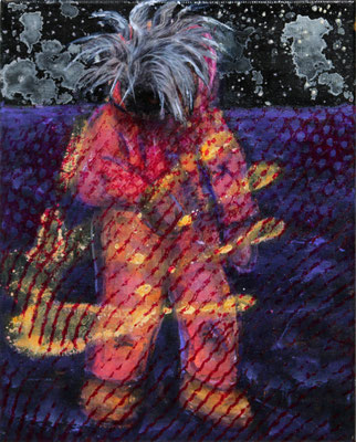 Spaceman Warhol (2020) mixed media on canvas 30 x 24 cm
