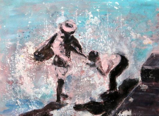 Wasser (2015) tempera, oil, varnish on Canson paper 56 x 76 cm
