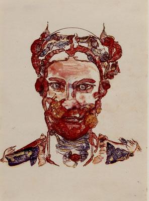 Baron (2018) oil and Derwent pen on paper 42 x 30 cm