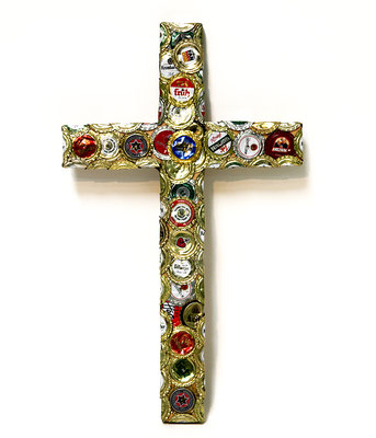 Crucifix 2 (2014) crown caps on wood 43 x 25 x 2 cm