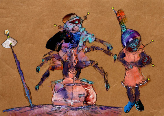 Camogie (2021) mixed media on banana paper 30 x 42 cm