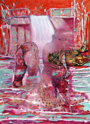 Les Peluches (2020)  oil, tempera, acrylic on canvas 190 x 140 cm