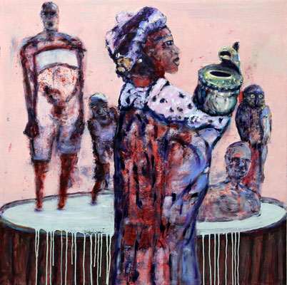 Kaffee Kaffee (2017) oil, tempera, acrylic on canvas 100 x 100 cm