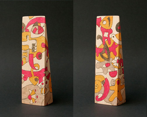 """follow me"" (2009) marker on beech wood 19 x 6 x 4 cm"