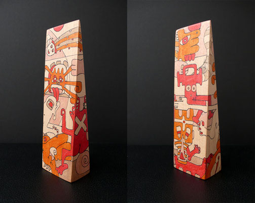 """on solid ground"" (2008) marker on beech wood 19 x 6 x 4 cm"