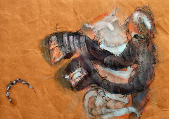 don't scratch where it doesn't itch (2014) mixed media on banana paper 30 x 42 cm