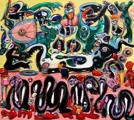 my visual anarchy (2020) oil, tempera on canvas 90 x 100 cm