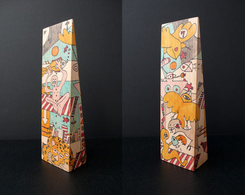 learning how to fly (2008) marker on beech wood 19 x 6 x 4 cm