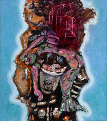 Hypercube (2020) oil, acrylic on canvas 80 x 70 cm