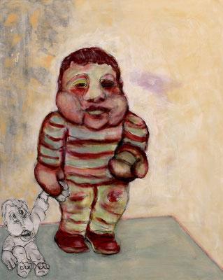 """Adorno: """"man empfindet Licht, wenn einem auf das Auge gehauen wird"""" (2020) oil, tempera, acrylic on canvas 100 x 80 cm"""