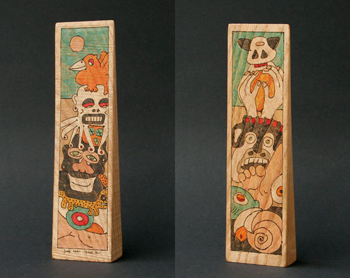 """no title"" (2001) marker on pine wood 23 x 6 x 3 cm"