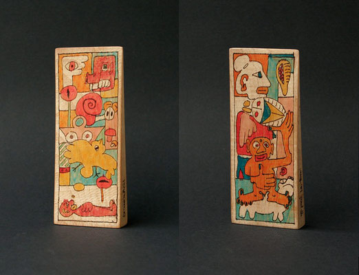 """Traumkeil"" (1997) marker on pine wood 17 x 7 x 2 cm"