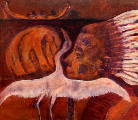 Archaic Re-Echo (2019) oil, tempera  on canvas 70 x 80 cm