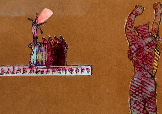 Zwergentanz (2020) mixed media on banana paper 30 x 42 cm