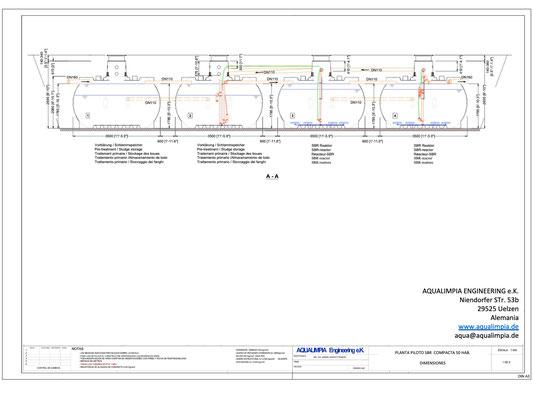 Modelo compacto para 50 habitantes - Sistema SBR - Aqualimpia Engineering e.K.