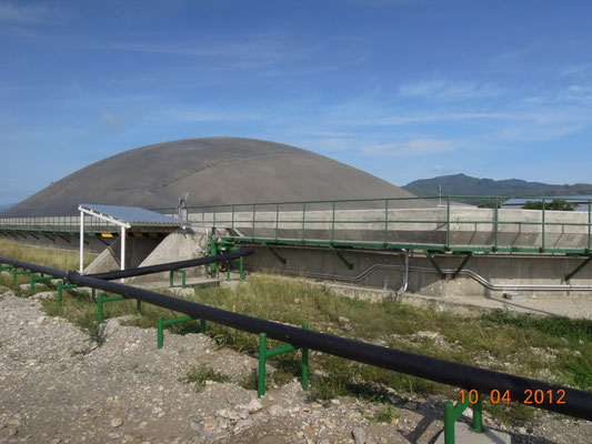 Biodigestor en matadero de reses - cerdos - covered lagoon digester for slaughterhouse waste